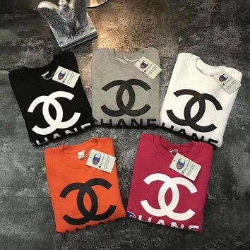 CHANEL & Champion Women New Fashion Round Neck Top Sweater Pullover Sweatshirt Five Color