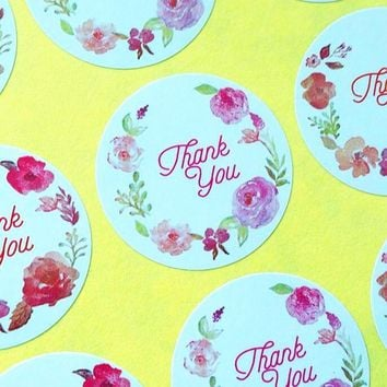 120pcs/lot Round Vintage Flower print Thank you Adhesive Kraft Baking Seal Sticker gift stickers students' Funny DIY Work