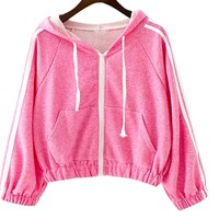 TRENDY XU Women Casual Cropped Hoodie Zip Up Hooded Coat Sweatshirt