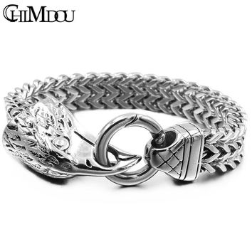 CHIMDOU Dad Gift Eagle bracelet for man,stainless steel cool high quality chain polishing flat link summer men accessories