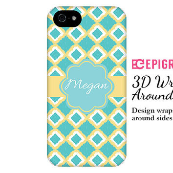 iPhone 6 case, aqua and yellow iKat iPhone 6 plus case, monogram iPhone case, wrap around, iPhone 5s case,  galaxy s5 case, 3D iPhone 6 case