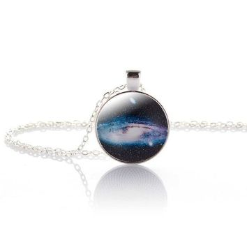 Nebula Space Pendant Necklace Glass Cabochon Sliver Chain Vintage Choker Statement Necklaces Women Jewelry Gift