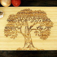 Personalized Cutting Board (Pictured in Natural), approx. 12 x 16 inches, Family Tree Initials - Wedding Gift, Anniversary Gift