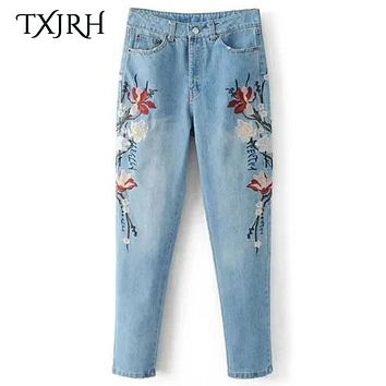 TXJRH Vintage Floral Embroidery Ripped Washed Bleached Demin Skinny Jeans Pencil Pants Zip Cozy Casual Women Slim Trousers