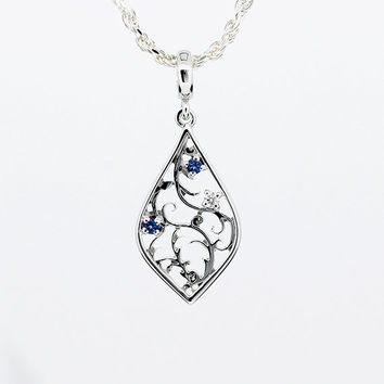 blue sapphire  and white diamond filigree pendant made from white gold, diamond necklace, filigree pendant, pear shape, sapphire necklace