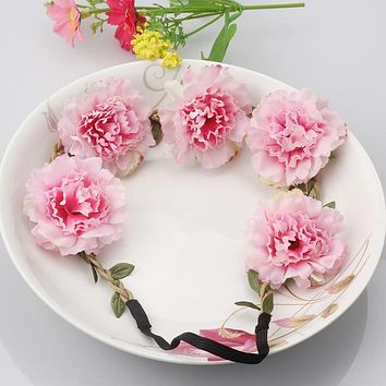 New 1PC Adjustable Hair Wreath With Simulation Chrysanthemum Flowers Hair band Headdress Wedding Hair Accessories Headband New