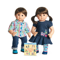 American Girl® Dolls: F4952 - Light skin, brown hair boy & girl