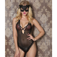 On Sale Sexy Hot Deal Cute Black One-piece See Through Lace Exotic Lingerie [6595583811]