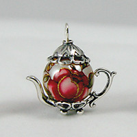 Medium Sterling Silver Faux Pearl Teapot Charm