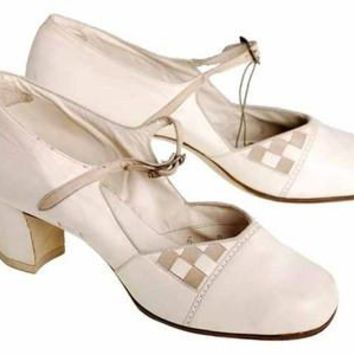 Vintage Mary Jane Shoe Ties 1920's Unique WOmens  Sz 5B NIB Brown Bilt Ivory