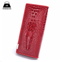 2015 3D Crocodile Grain Women Long Wallets Genuine Leather Embossed Design Draw-out Type Female Wallet Clutch Purses Carteira