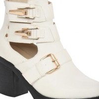 White Cut Out Buckle Detail Block Heel Ankle Boots