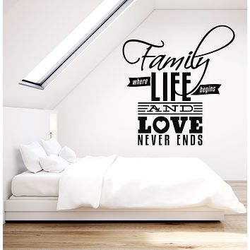 Vinyl Wall Decal Family Love Quote Words Room Art Bedroom Decor Stickers Mural (g888)