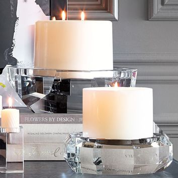 Faceted Crystal Pillar Candle Holder