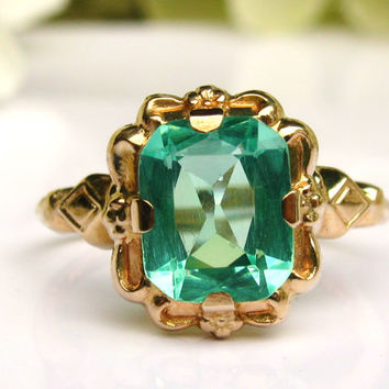 Art Deco Engagement Ring Esemco Green Glass Ring Antique Engagement Ring 10K Yellow Gold Promise Ring Art Deco Ring Size 5!