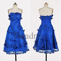 Custom Royal Blue Applique Beaded Short Prom Dresses Evening Dresses Party Dresses Hot Homecoming Dresses Cocktail Dresses