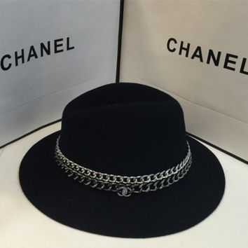 """""""Chanel"""" Autumn Winter Women Fashion All-match Aristocratic Wind Chain Cap Wool Large Brimmed Hat"""