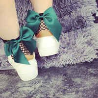 New 2017 Ruffle Big Green Bow Fishnet Ankle High Socks