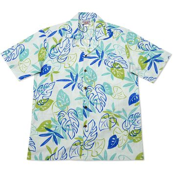 leaf teal hawaiian cotton shirt