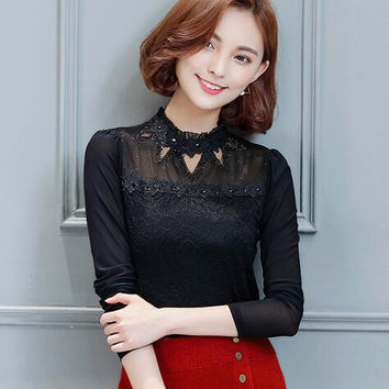 2016 mesh stitching hollow out lace tops elegant female long-sleeve solid color lace blouse fashion Slim diamonds women blouse