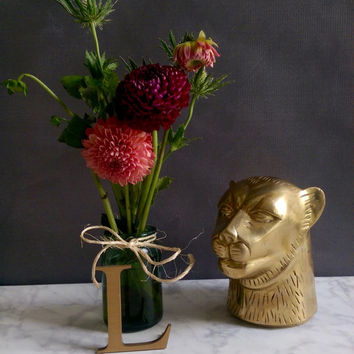 Vintage Brass Bookend/ Brass Lioness/ Brass Lion Bookend/ Vintage Brass Lion/ Vintage Panther/ Panther Sculpture/ Vintage Door Stop