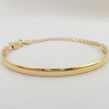 Estate Unique 18K Gold Half Bangle Chain Bracelet