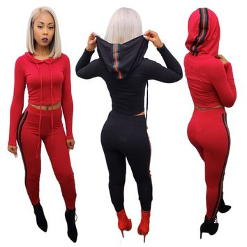 2017 Autumn Hooded Crop Top And Pants Sets Womens Sexy Casual Outfits Striped Overalls Tracksuit Sweatsuit Two Piece Outfits