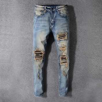 Ripped Holes Stylish Weathered Slim Stretch Jeans [748306432093]