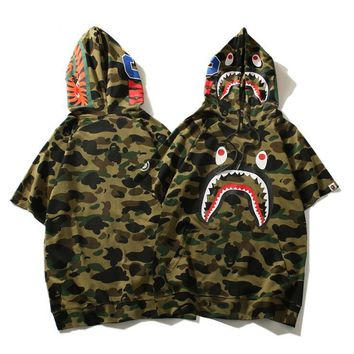 Bape Shark Women Men Fashion Hooded Top Tee T-shirt