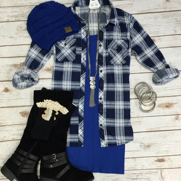 Penny Plaid Flannel Top: Royal