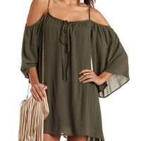 Cold Shoulder Tie-Neck Trapeze Dress by Charlotte Russe - Olive