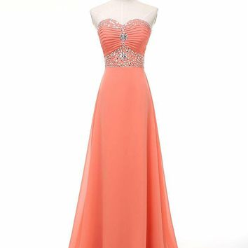 custome made chiffon strapless evening dress  party dresses prom dresses formal dress