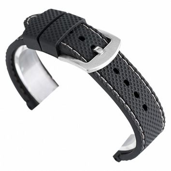 18mm/20mm/22mm/24mm Soft Military Sport Bracelet High Quality Waterproof Watch Band Outdoor Black/Blue Silicone Pin Buckle Strap