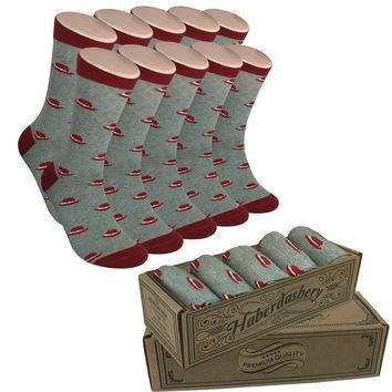 Wedding Party Socks - Gray with Burgundy Hats