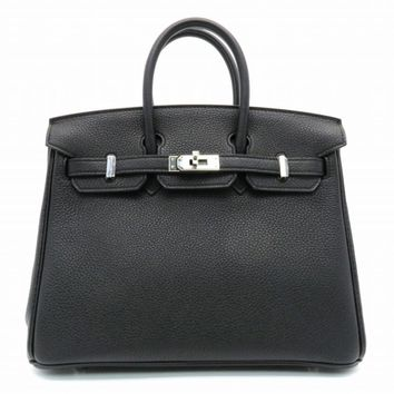 Hermes Birkin 25 SHW Tote Bag Handbag Togo Leather Noir/ Black 0958