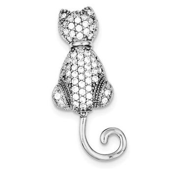 Sterling Silver CZ Cat w/ Movable Tail Pin Brooch