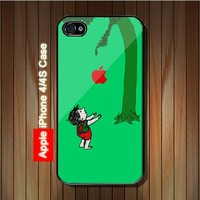 Bluish Green The Giving Tree iPhone 4 4S Case - Black Case