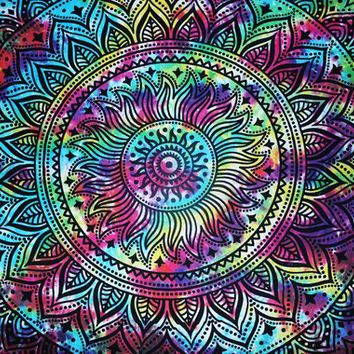 Twin Size Tie Dye 5 Leaves Pattern Decorative Home Tapestry Wall Tapestries Bohemian Tapestry Wall Hanging Yoga Tapestry Hippie Tapestry