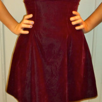 80s Velvet Oxblood Rhinestone Choker Collar Sweetheart Top Cocktail Dress
