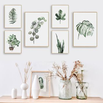 BIANCHE WALL Watercolor Plant Leaves Poster Print Landscape Wall Art Canvas Painting Picture for Home Decoration Green Decor