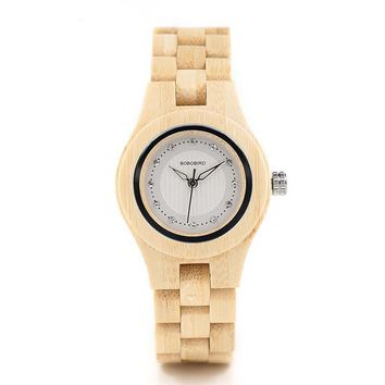 Women's Petite Natural Wood Watch