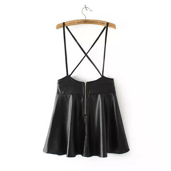 Black Faux Leather Straps Zippered Skirt