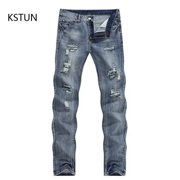 2017 New Arrival Men Jeans Ripped Broken Man Hip Hop Brand Clothing Straight Slim Fit Tapered Light Blue Trendy Large Size 38 40