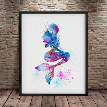 Princess Ariel, Ariel print, Ariel Print Watercolor Painting, Princess Ariel, Disney Poster, Mermaid Ariel, Mermaid, Watercolor art -a19