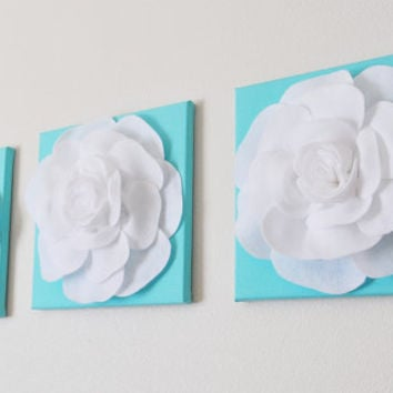 Tiffany Blue Set Of Three White Roses On Bright Aqua Solid 12 X12 Canvas