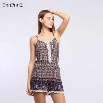 CREYONJ 2017 Bohemian holiday print sexy Beach playsuit high waist elastic waist straps rompers elegant Tassels overalls Women Jumpsuit