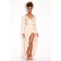 La Lydia Long Sleeve Maxi Wrap Dress - Petal Pink