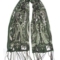 Bohomonde Clara Scarf, Delicate Sheer Burnout Paisley Pattern Scarf with Fringe