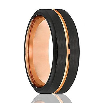 Men's Black Tungsten Ring With Rose Gold Grooved Center Beveled Edges - 8mm