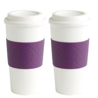 Copco New! 2 Pack Acadia Reusable Travel Mug, 16-Oz, White/Plum